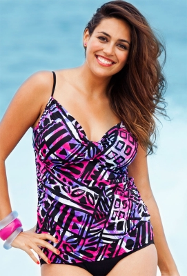 Swimwear. Summer day or sunny vacation, Penningtons plus size swimwear gets you ready for long days at the beach or pool. Take a dip in unique and comfortable bathing suits made to fit perfectly. Crafted from super stretchy fabrics, our collection includes tankinis, one-piece swimsuits and bikinis in trendy colours and prints.