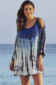 Blue Tie Dye Cold Shoulder Swimsuit Cover Up