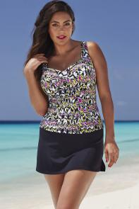 Multi Ruched Twist Front Tankini Set with Skirt
