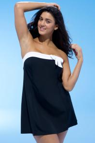 Black Bow-Trim Swimdress