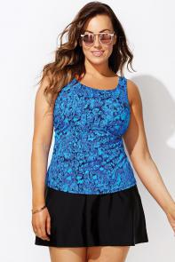Blue Tankini Set with Skirt