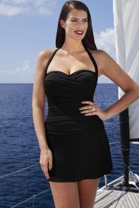 Black Ruched Tankini Set with Skirt