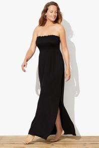 Black Strapless Maxi Dress Swimsuit Cover Up