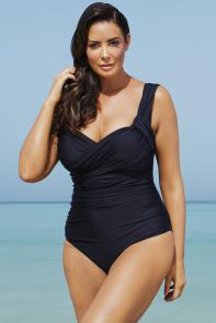 Black Crossover One Piece Swimsuit