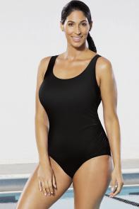 Chlorine Resistant Lycra Xtra Life Black Side Shirred Swimsuit