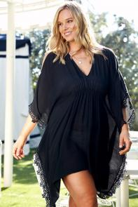 Black Poncho Sheer Swimsuit Cover Up