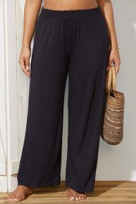 Black Beach Pant with Smocked Waist Cover Up