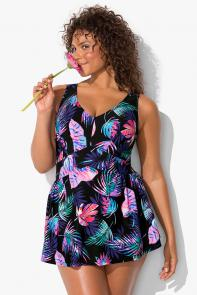 Tropical Palm Multi V-Neck Swimdress