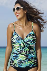 Green Palm Underwire Tankini Top