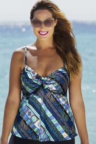 Blue Boho Underwire Tankini Top