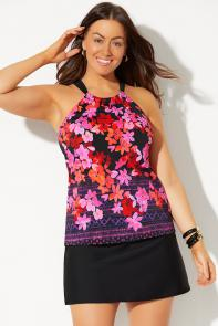 High Neck Tankini with Side Slit Skirt