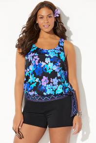 Side Tie Blouson Tankini with Banded Short
